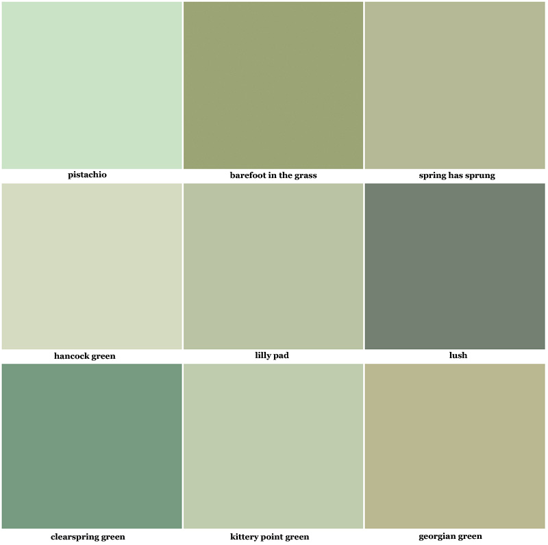 green color swatches paint bedroom color palette