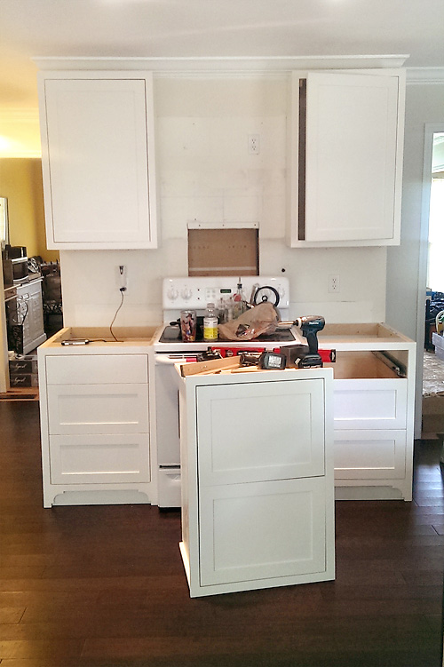 Kitchen Remodel Custom Cabinets Install Stove Wall