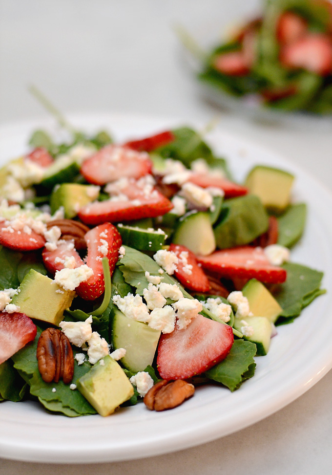 of my favorite summer salads of all time is a spinach and kale salad ...