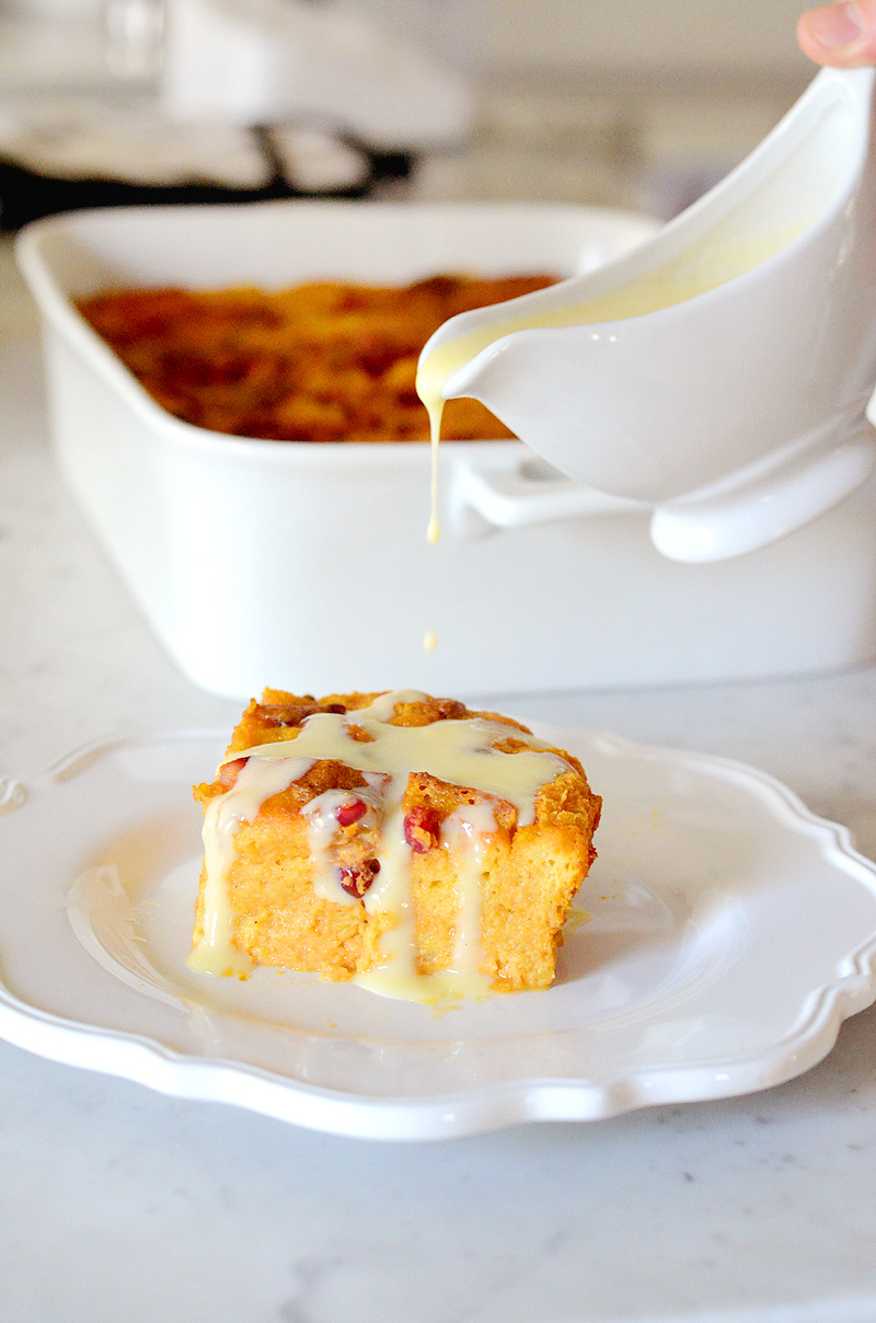 Pumpkin Panettone Bread Pudding with White Chocolate Creme ...