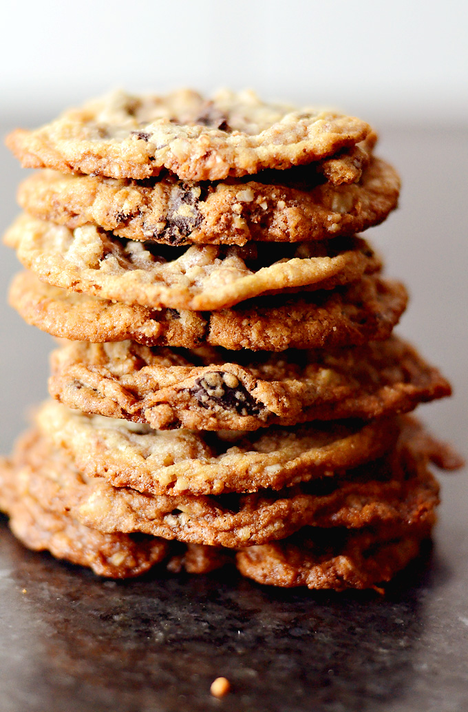 Lacey thin and perfectly chewy toffee chocolate chunk cookies with a ...